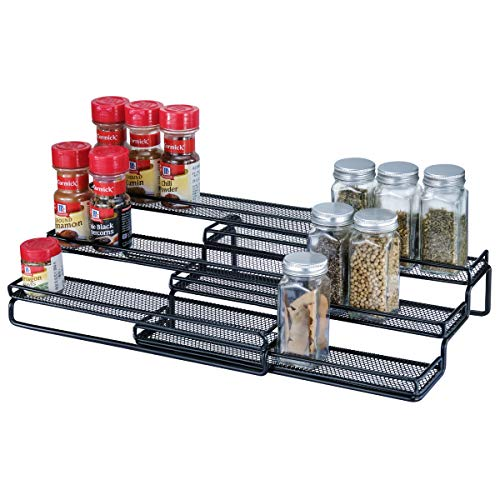 3 Tier Expandable Cabinet Spice Rack Organizer  Step Shelf with Protection Railing 125 to 25quotW Black