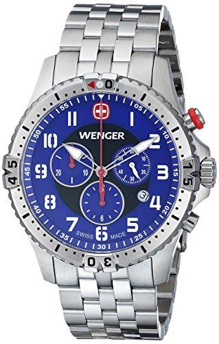 Wenger - 77060 - Montre Homme - Quartz Analogique - Bracelet Silicone Argent