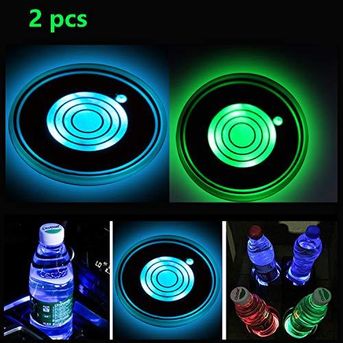 Luci per portabicchieri a LED da 2 Pezzi, Sottobicchieri per Auto a LED con Pad per Tazza luminescente a 7 Colori.
