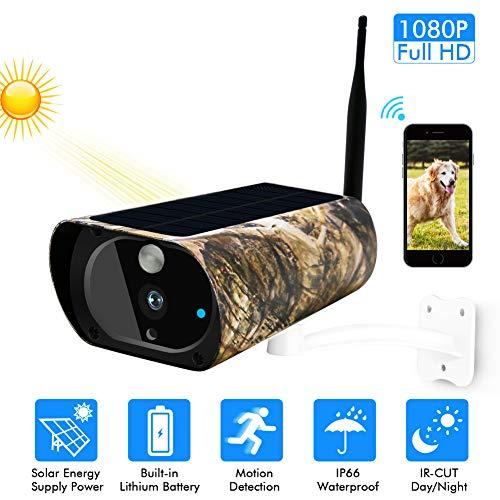 Zonne-powered draadloze beveiligingscamera, 1080P WiFi Maple Leaf Camouflage camera, IP67 weerbestendige buitenbewegingsdetectie infrarood nachtzicht IP-camera met 2-weg audio-SD-kaartsleuf
