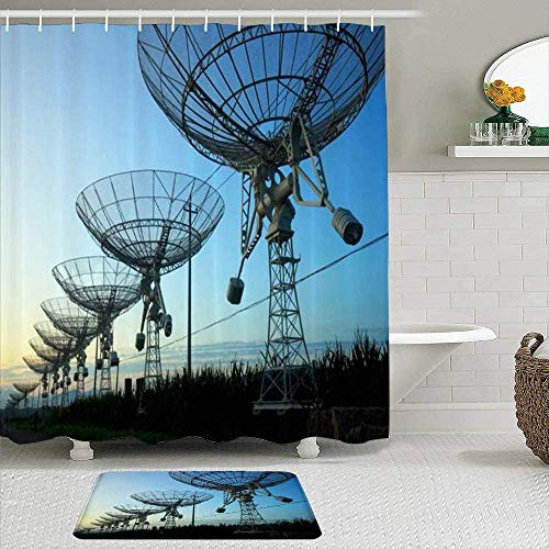 EricauBird Cortina de ducha-Observatorio de señal de noche Silueta Antena Radio Telescopio Nebulosa Industrial, Impermeable Baño Cortina de ducha Decoración de baño 72x72