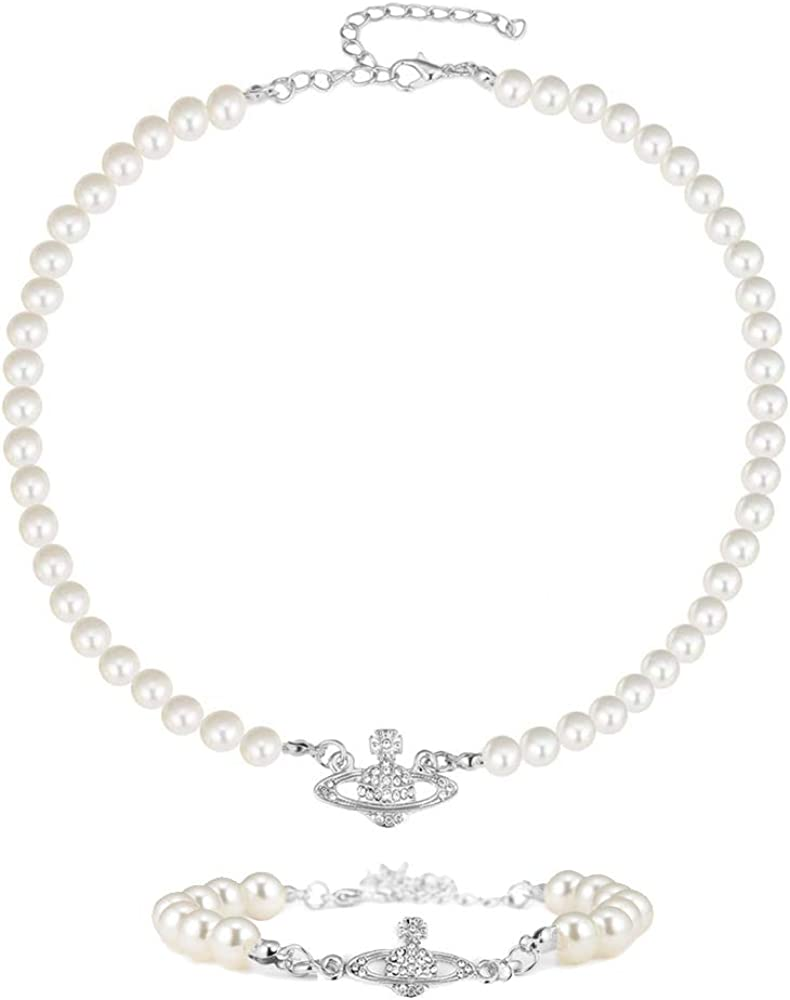 SOOWOOT Saturn Pearl Choker Necklace - Crystal Rhinestone Fake Pearl Collar Pendant Necklace Bracelet with Charm Y2k Necklace Bracelet Jewelry Pearl Bead Chain Crystal Choker Bracelet for Women Girls