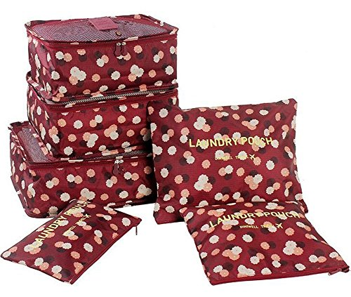 Yimoji 6pcs Luggage Travel PACKING Cube Bags multiuso cosmetici di biancheria intima vestiti scarpe organizzatori Storage Bags set Blu Flora-Wine red 6 Sets