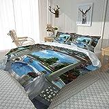 QMGLBG Bettwäsche 135x200 cm Blick auf den Gartenpool Mikrofaser Bettbezug weiche Flauschige Bettbezüge mit Reißverschluss und 2 Kissenbezug 80x80cm