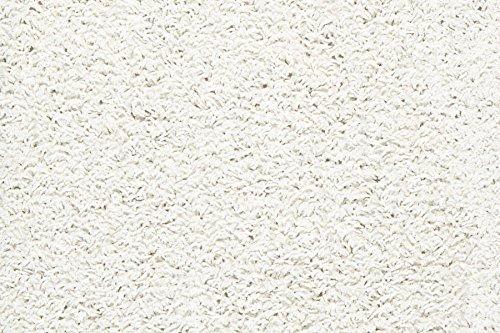Teppichboden Shaggy Hochflorteppich Bodenbelag Auslegware Uni weiß 500 x 400 cm. Weitere Farben und Größen verfügbar