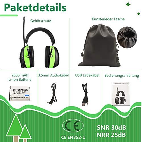 PROHEAR 033 Gehörschutz mit Bluetooth, FM/AM Radio Ohrenschützer, Eingebautem Mikrofon und Lärmreduzierung für Forst-, oder Landarbeit & lärmintensive Freizeitaktivitäten SNR30dB - 4