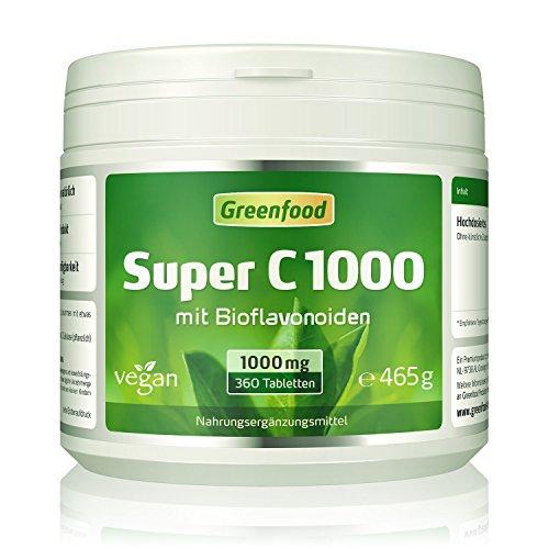 Super C, 1000 mg Vitamin C, hochdosiert, 360 Tabletten, vegan – mit Acerola, Hagebutte, Bioflavonoiden. Für ein bärenstarkes Immunsystem. Schützt die Zellen. OHNE künstliche Zusätze. Ohne Gentechnik.