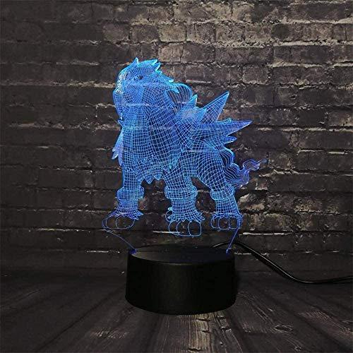 Modelo 3D LED noche luz creativa 16 colores lámpara táctil remoto lámpara de mesa niño bebé dormitorio sueño ilusión escritorio cumpleaños vacaciones tienda regalo juguete Pokemon Entei