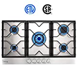 Built-in Gas Cooktop, GASLAND Chef GH90SF 5 Burner Gas Hob, 34 Inch NG/LPG Convertible Natural Gas Propane Cooktops, High Power Gas Stovetop with Thermocouple Protection, Stainless Steel