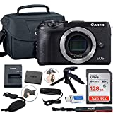 Canon EOS M6 Mark II Mirrorless Digital Camera (Black) Body Only + Canon Shoulder Bag + 128GB Sandisk Memory Card + Grip Steady Tripod + Grip Strap & More.