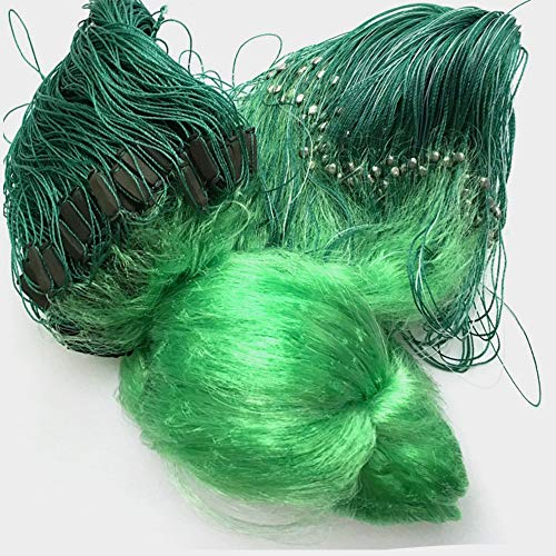 Running Water Fishing Gill Nets, Trasmallos 3 Layer Green Gill Netting, With Lead Weights And Floats, 80 Meter - 100 Meter Length, 1.5 Meter - 3 Meter High, 4 Cm - 14 Cm Full Mesh Size, Green Color