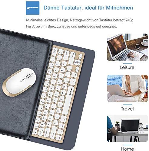 Jelly Comb Tastatur und Maus Set, 2.4G Kabellose Dünne Tastatur mit Funkmaus Kombi für Laptop, PC und Smart TV, Deutsches Layout QWERTZ, Weiß und Gold