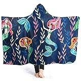 Henry Anthony Schöne Meerjungfrau Muster Hoodie Decke Korallen Plüsch Ultra Soft Plüsch Freizeit Wear Hooded Throw Wrap