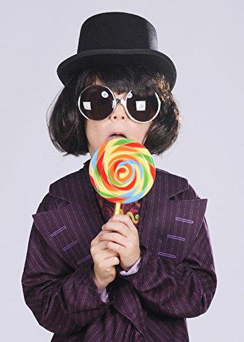 Struts Fancy Dress Enfants Willy Wonka Style Brown Perruque