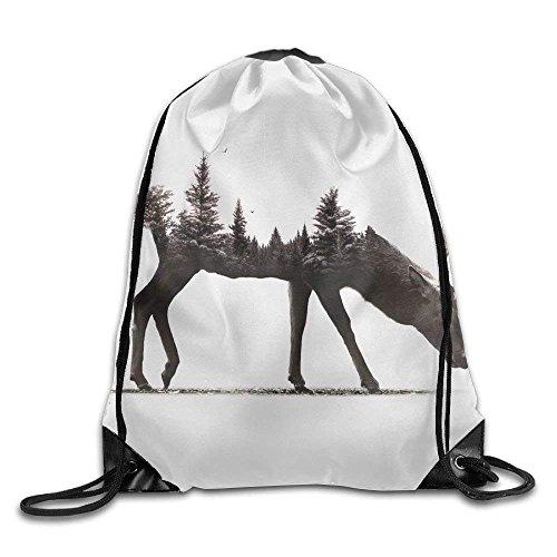 Kordelzug Rucksack Gym Bag Travel Rucksack, Digital Art Hirsch Pflanzen, Studio Equipment Rucksack für Damen Herren Erwachsene