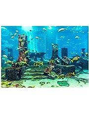 PVC Coral Fondo del Acuario Cartel Submarino Fish Tank Decoraciones de Pared Etiqueta 4 Tamaño(61 x 41 cm)