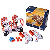 Dimple Shooting Target Game for Kids - Gun Targets for Shooting Practice - Elite Accessories for Boys & Girls - 2 Blaster Guns, 36 Bullets, 2 Dart Holders- Compatible with Nerf, Orange-White