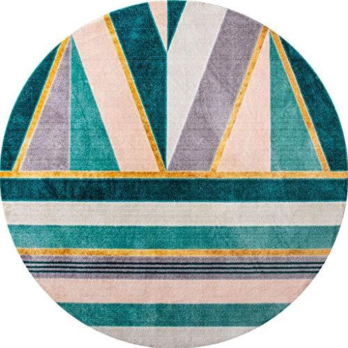 Carpet tapijten stijlvolle ronde licht groene woonkamer moderne studiestoel kussen eenvoudige dressoir dressoir gestreepte geometrische voetpads