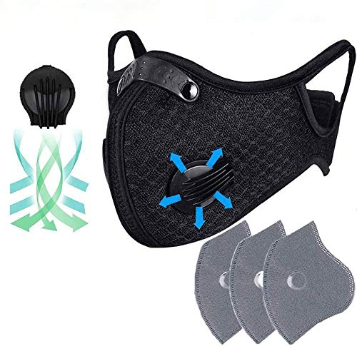 C&Xanadu Dustproof Mask Training Masks Ship from United States, Elastic Activated Carbon Riding Mask Face Masks for Motorcycling Woodworking Cycling Running Bicycle Black (3pcs Filter)
