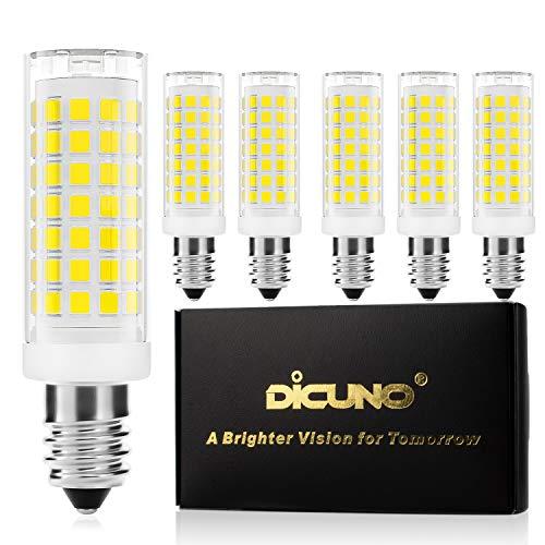 DiCUNO E14 LED Birne 4W,Ersatz für 40W Halogenlampe, 430LM, Kaltweiß 5000K, Dimmbar, 220-240V, Maiskolben Led Mais Birne,Kühlschranklampe/Wandlampe/Tischleuchte, 6P