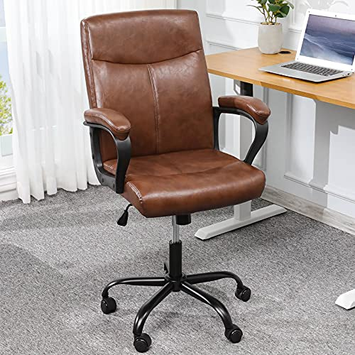 Faux Leather Office Chair Brown Desk Chair with upholstered armrests, Tan Office Cahir on Wheels for Home, Capacity 200kg