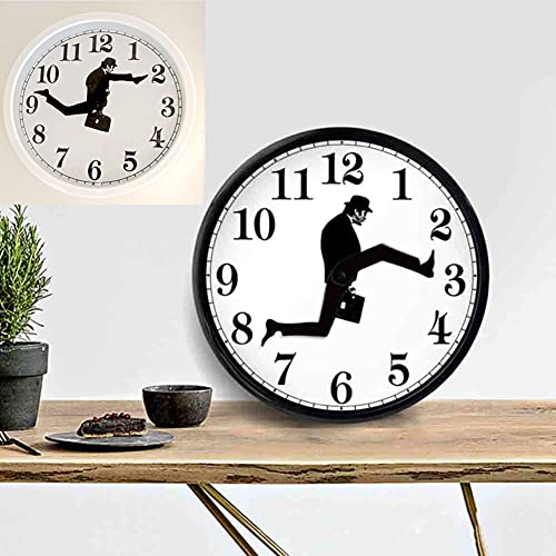 Reloj Ministry Of Silly Walks, Reloj De Pared Silly Walk, Reloj Silencioso Silencioso Para Caminar Divertido Para Sala De Estar DéCor, Reloj De Pared De Comedia BritáNica (blanco)