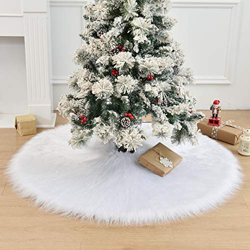 WEYON 48 Inch Christmas Tree Skirt, Large Faux Fur White Tree Skirt for Xmas Year Party Holiday Home Decorations