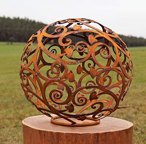 Edelrost Kugel Ornament mit Herz auf Standring 30 cm Deko - Kugel Handarbeit