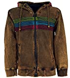 Guru-Shop Goa Hoodie Jacke, Stonewash Ethno Kapuzen Jacke, Herren, Cappuccino, Baumwolle, Size:L, Jacken, Strickjacken, Ponchos Alternative Bekleidung