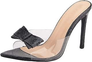 Jiu du Women's Sexy Clear Wedge Slip On Pointed Toe Summer Shoes Slingback Slippers Stiletto High Heel Dress Sandals