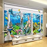 Mural Underwater World Mermaid Dolphin Roman Column 3D Wall Custom Large Mural Green Seda