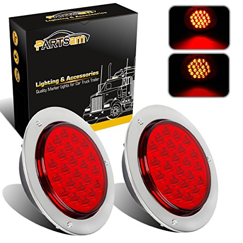 Partsam 2pcs 24-LED Red 4 Inch Round Tail Stop Turn Signal and Brake Marker Clearance Truck Trailer RV Lights Sealed Lamps Assembly w/Chrome Bezels Waterproof DOT Certified