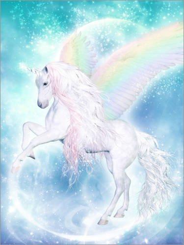 Poster 30 x 40 cm: Regenbogen-Einhorn Pegasus von Dolphins DreamDesign - hochwertiger Kunstdruck, neues Kunstposter