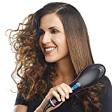 IMPREX INFRA Hair Electric Comb Brush 3 in 1 Ceramic Fast Hair Straightener For Women's Hair Straightening Brush with LCD Screen, Temperature Control Display,Hair Straightener For Women (Black)