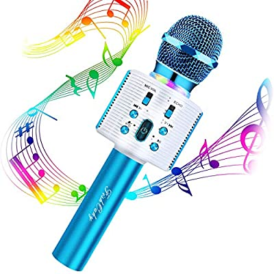 Wireless Karaoke Microphone, FISHOAKY 4 in 1 Handheld Portable Bluetooth Microphone Speaker Karaoke Machine with Dancing Lights, Home KTV Player with Record, Compatible with Android/IOS Devices