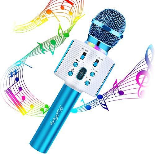 Microfono Karaoke Bluetooth Wireless, FISHOAKY 4 in 1 Portatile Microfono Bambini con Altoparlante, KTV Karaoke Player per Cantare, Funzione Eco, Compatibile con Android iOS Smartphone e PC