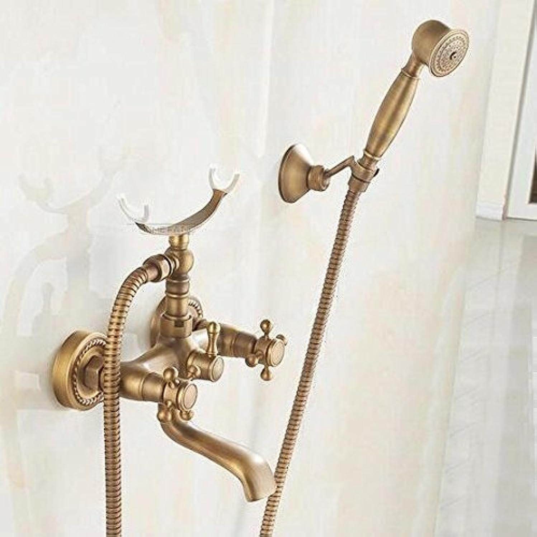 Antik Bronze Bad Wandmontage Badewanne Armatur mit Muster Keramik Dusche Dusche Wasserhahn tippen, EIN