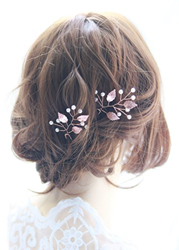 Handmadejewelrylady Haarnadeln, Rotgold, Vintage-Stil, geeignet als Braut- / Party-Schmuck, Kristall- und Strasssteine, 2er-Set