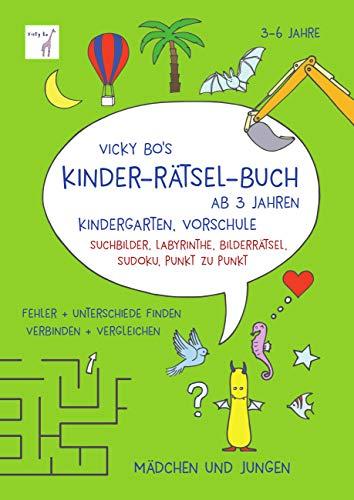 Kinder-Rätsel ab 3 Jahren: Kindergarten, Vorschule, Suchbilder, Labyrinthe, Bilderrätsel, Sudoku, Punkt zu Punkt. Fehler und Unterschiede finden, verbinden und vergleichen. Mädchen und Jungen