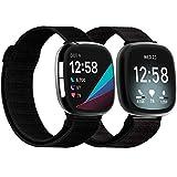 Mocodi Sense Nylon Bands Compatible with Fitbit Sense & Versa 3, 2-Pack Soft Adjustable Breathable Nylon Sport Replacement Strap Women Men Wristbands Accessories for Fitbit Sense & Versa 3 SmartWatch
