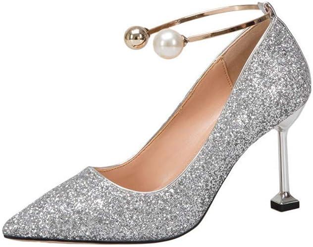 AJUNR Femmes Loisirs Chaussures De Mariage Femmes Printemps Robe 8Cm Talons Hauts Crystal Mariée De Chaussures