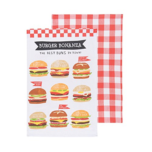 Now Designs Ahora diseños Toallas de té, Burger Bonanza Print and Red Plaid, Set de 2