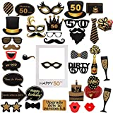 Amycute 50 Anni Compleanno Foto Props, Selfie Cornice Puntelli Fotoe DIY Maschere Foto Props Festa di 50 Anni Compleanno Decorazioni per Uomo o Donna (50)