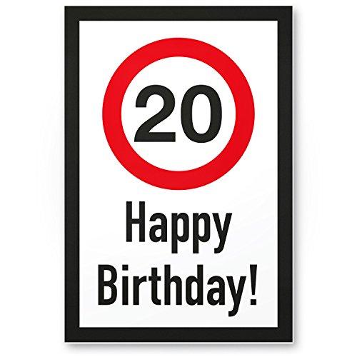 DankeDir! 20 Jahre Happy Birthday Kunststoff Schild - Geschenk 20. Geburtstag, Geschenkidee Geburtstagsgeschenk Zwanigsten, Geburtstagsdeko/Partydeko/Party Zubehör/Geburtstagskarte