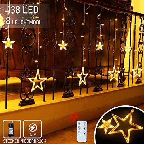 12 Sterne Lichterkette,138LED warmweiss Lichtervorhang weihnachtslichter Sternenvorhang 8 Modi mit Fernbedienung Innen Außen Sterne Vorhang Lichter Für Weihnachten,Party,Hochzeit,Garten, Balkon, Deko