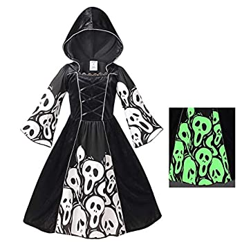 yolsun Skeleton Ghost Witch Costume for Girls Glow in The Dark Halloween Fearsome Costume 10-12 Years  Black