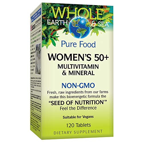 Whole Earth & Sea from Natural Factors, Women's 50+ Multivitamin & Mineral, Vegan, 120 Tablets (60 Servings)