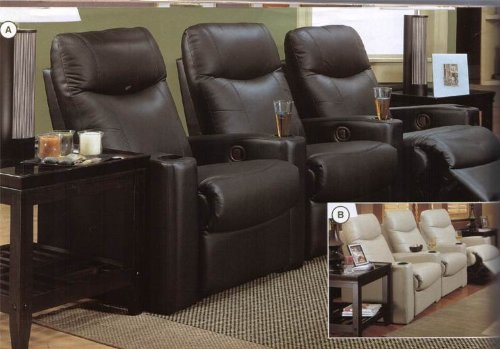 Director's Theater Sectional in Black Leather Match,5 Theater Seat