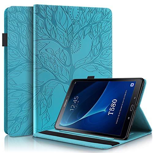 CaseFun Hülle für Samsung Galaxy Tab A6 10,1 SM-T580/T585 Baum des Lebens Ultra Slim TPU Schutzhülle Tasche Folio Flip Stand Cover mit Kartenfächern, Blau