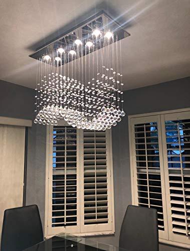 APBEAMLighting Modern Rectangular Crystal Chandelier Flush Mount Wave Raindrop Ceiling Lighting Fixture for Kitchen Island Dining Room 8 Lights